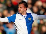 Jordan Rhodes celebrates after scoring the opener for his team on December 2, 2012