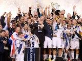 LA Galaxy celebrate as captain Landon Donovan lifts the MLS Cup on December 2, 2012