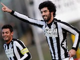 Siena's Luis Carlos Neto celebrates after scoring the opener against Roma on December 2, 2012