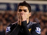 Luis Suarez moments after missing an opportunity to equalise against Tottenham on November 28, 2012