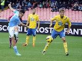 Napoli's Marek Hamsik strikes to score against Pescara on December 2, 2012