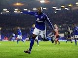 Birmingham's Marlon King celebrates scoring a penalty on November 30, 2012