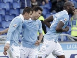 Lazio's Miroslav Klose celebrates after scoring his team's second goal on December 2, 2012
