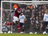 Mohamed Diame celebrates scoring for the Hammers on December 1, 2012