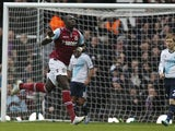 Mohamed Diame celebrates scoring for the Hammers on December 1, 2012