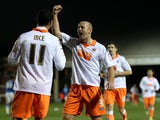 Stephen Crainey congratulates Thomas Ince after scoring his first goal on December 1, 2012