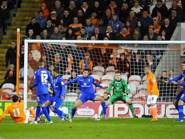 Thomas Ince scores for Blackpool on November 27, 2012