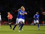 Zak Whitbread celebrates after scoring the opener against Derby on December 1, 2012