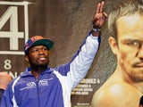 50 Cent at the weigh-in for the fight between Manny Pacquiao and Juan Manuel Marquez on December 7, 2012