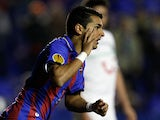 Levante's Angel Luis Rodriguez celebrates moments after scoring against Hannover on December 6, 2012