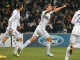 Schalke's Benedikt Howedes scores against Montpellier on December 4, 2012
