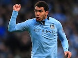 Manchester City's Carlos Tevez shows his frustration during the Manchester derby on December 9, 2012