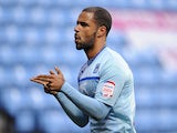 Coventry City's David McGoldrick celebrates his first on December 8, 2012