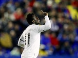Hannover's Didier Ya Konan celebrates moments after scoring against Levante on December 6, 2012
