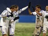 Dynamo Kiev players celebrate against Dinamo Zagreb on December 4, 2012