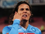 Napoli's Edinson Cavani celebrates after scoring against PSV Eindhoven on December 6, 2012
