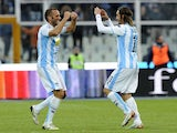 Elvis Abbruscato celebrates his goal against Genoa on December 9, 2012