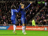 Chelsea striker Fernando Torres celebrates his second goal against Sunderland on December 8, 2012