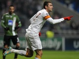 Galatasaray's Burak Yilmaz scores against Braga on December 5, 2012
