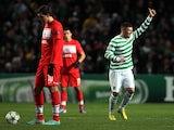 Celtic's Gary Hooper celebrates opening the scoring against Spartak on December 5, 2012