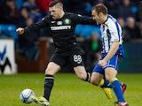 Celtic's Gary Hooper shields the ball on December 8, 2012