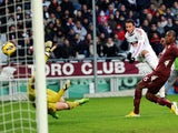 AC Milan's Giampaolo Pazzini scores in his side's 4-2 win over Torino on December 9, 2012