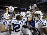 Indianapolis Colts players celebrate on December 2, 2012