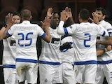 Porto players celebrate Jackson Martinez's goal against PSG on December 4, 2012