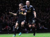 Joe Cole is congratulated by Jonjo Shelvey after his goal against West Ham on December 9, 2012