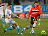 Marseille's Joey Barton in action against Lorient on December 9, 2012
