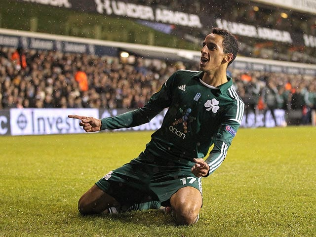 Panathinaikos' Jose Carlos celebrates scoring the equaliser against Tottenham on December 6, 2012