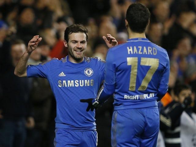 Juan Mata and Eden Hazard celebrate a Chelsea goal on December 5, 2012