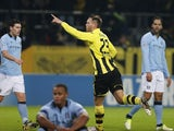 Dortmund's Julian Schieber celebrates his goal against Man City on December 4, 2012