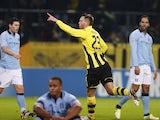 Dortmund's Julian Schieber celebrates his goal against Man City on December 4, 2012