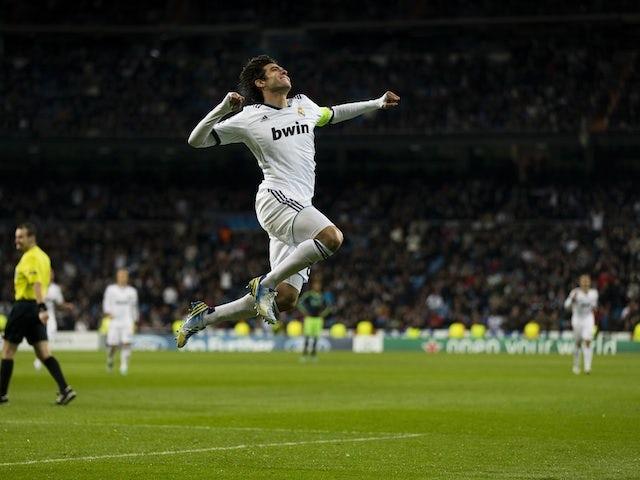 Kaka's Real Madrid celebrates his goal against Ajax on December 4, 2012