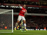 Mikel Arteta celebrates his second penalty against West Brom on December 8, 2012