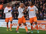 Nathen Delfouneso celebrates his opening goal against Crystal Palace on December 8, 2012
