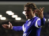 Nikica Jelavic celebrates his winning goal on December 9, 2012