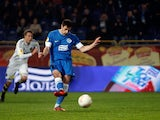 FC Dnipro Dnipropetrovsk's Nikola Kalinic scores the opener against AIK on December 6, 2012