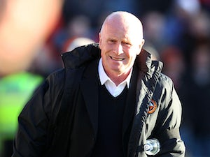 Dundee United manager Peter Houston on the touchline during the match against rivals Dundee on December 9, 2012