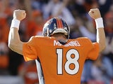 Peyton Manning of the Denver Broncos celebrates on December 2, 2012