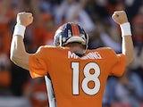 Peyton Manning of the Denver Broncos celebrates on December 2, 2012