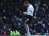 Derby skipper Richard Keogh celebrates a goal on December 8, 2012