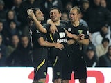 Robert Snodgrass celebrates the fourth Norwich goal against Swansea on December 8, 2012