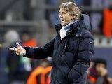 Man City manager Roberto Mancini on the touchline against Borussia Dortmund on December 4, 2012