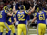 St Louis Rams players celebrate on December 2, 2012