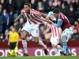Stoke's Steven N'Zonzi is pulled back by Aston Villa's Ashley Westwood on December 8, 2012