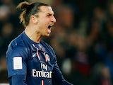 Paris Saint Germain's Zlatan Ibrahimovic celebrates after scoring the opener on December 8, 2012