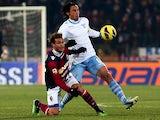 Bologna's Alessandro Diamanti and Lazio's Stefano Mauri battle for the ball on December 10, 2012