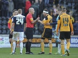Hull's Alex Bruce is sent off after the final whistle on December 15, 2012